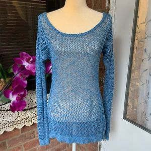 Mossimo Blue open Knit sweater Size S/P